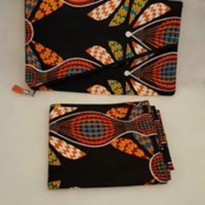 African Print Headwrap with Matching clutch bag